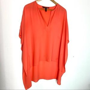 BCBG Maxaazria Tunic Top M/L Orange High Low